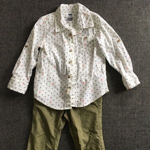 Old Navy 3T Outfit Khaki Pants and Button up